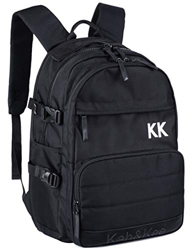 Kah&Kee Basic School Backpack Unisex Bookbag Student Backpack with Push Buckle Fastening and Laptop Protection (Black)