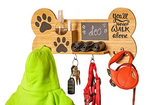 Emotiset Perchero de Pared de Madera con 6 Ganchos Ideal para Colgar Correas y Accesorios de tu Perro o Mascota.Personalizable con Pizarra Contiene rotulador Tiza.Regalo Amantes de los Animales.