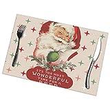 Uyikuvt Funny Santa Christmas Wonderful Time - Juego de 6 manteles individuales para mesa de comedor, lavable, antideslizante, 45,7 x 30,5 cm