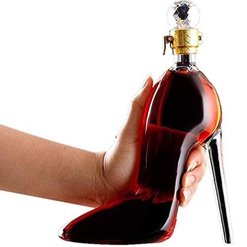 WM Decantador de Whisky 350ml / 750ml Modelado de Tacones Altos Buen Sellado de Alta Capacidad para Jarra de Ron Escocés Borbón de Brandy de Tequila de Vidrio Artesanal,350ml