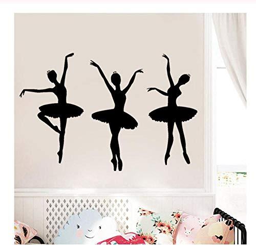 Wandaufkleber Wandsticker Wandtattoo Diy Ballerina Künstler Mädchen Ballett Tanz Tänzer Fitnessstudio Abnehmbare Vinyl Kunst Schlafzimmer Wohnkultur 63X42 cm
