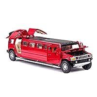 車のおもちゃの収集品 ハマーのために延長された1:32シミュレーション合金フィナーレカーモデルサウンドとライトカーコレクションボーイギフト (色 : 赤)
