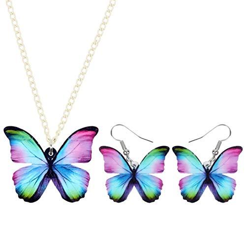 Conjuntos De Acrílico Elegantes Joyas Pendiente De Flying Blue Collar De La Mariposa Collar De Insectos For Las Mujeres Chica Accesorios Decoración Joyas LIYDEG (Color : B)
