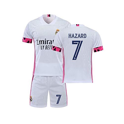 LCHENX-Herren Real Madrid Club de Fútbol Trikot Set # 7 Eden Hazard Fans Fußball T-Shirt und Shorts,Weiß,S