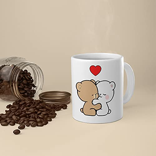 11 Oz Unique Ceramic Coffee Mugs Gift Milk Mocha Bear Two Hearts Beat As One Valentine Lovers Kiss Present Coffee Mug Unique Best gift or souvenir for Men, Women, Him, Her