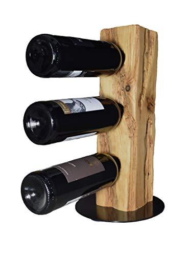 Wood & Wishes – Rustikaler Weinständer, Weinregal, Weinhalter aus Massivholz; gefertigt in Handarbeit für 3 Flaschen Wein; dekoratives Unikat; Treibholzoptik; Landhausstil; Höhe ca. 40 cm, Ø 20 cm