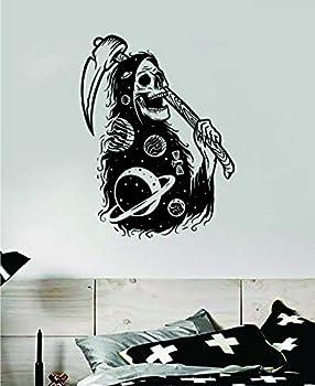 Grim Reaper Galaxy Art Wall Decal Sticker Vinyl Room Bedroom Decor Teen Day of The Dead Tattoo Sugarskull Halloween Zombie Skull Space Trippy