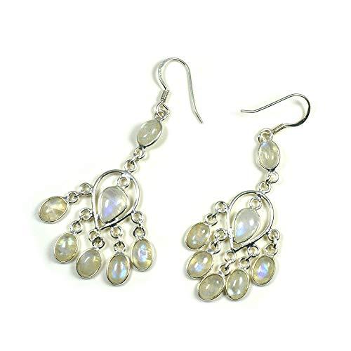 Jewelryonclick - Pendientes de plata de ley con diseño de piedra lunar arcoíris real para mujer