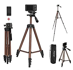 PHOTRON Stedy 420 Tripod with Mobile Holder for Smart Phone, Camera, Mobile Phone | Extends to 1240mm (4 Feet) | Folds to 425mm(1.4 Feet) | Weight Load Capacity: 2.5kg | Case Included, Copper/Grape,Photron,PHT420GR