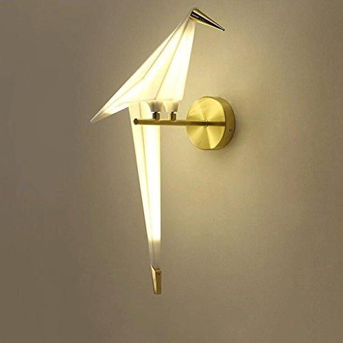 csd Lámpara de pared simple y moderna simple cabeza Sala de estar temática restaurante ola Bar personalizada dormitorio Bird Bird lámpara de pared de papel Origami lámpara de pared creativa