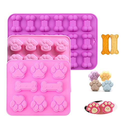 Silicone Candy Chocolate Molds, 3 Pack 42-Cavity Ice Molds Trays Puppy Dog Paw and Bone Silicone Molds Cookies Baking Pans for Use in Oven Microwave Freezer Dishwasher