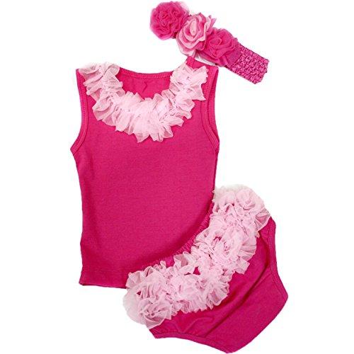 Robe de bébé uni rose vif à volants Bloomer ensemble bébé 3-12 m - Rose - taille unique