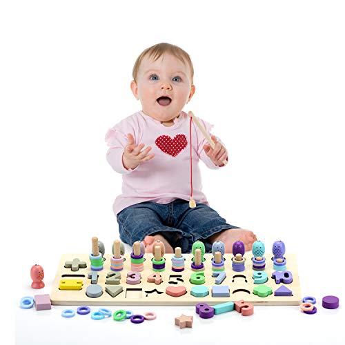 EKKONG Montessori Spielzeug ab 3 Jahre,Montessori Mathematik Spielzeug, Zahlenlernspiel,Holzblöcke Puzzles, Angeln Spiel Spielzeug, Lernspielzeug für Kinder, Kleinkind