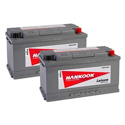 2x Hankook XV110 12V 110Ah Batteries Décharge Lente Pour Loisir, Caravane, Camping Car, Bateau - 354x174x190mm