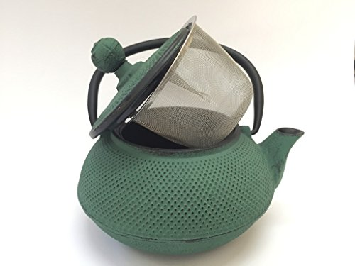 Tetera de hierro colado con filtro - capacidad 0.55 litros y color verde - teteras para vitroceramica, inducción y gas - tetera de metal mediana para infusión y té