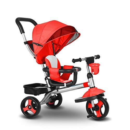 YETC - Passeggino a triciclo per bambini, multifunzione, per bambini Rosso