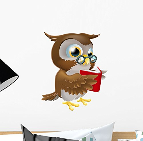 Wallmonkeys Cartoon Owl Reading Book Wall Decal Peel and Stick Graphic (12 in H x 10 in W) WM247426