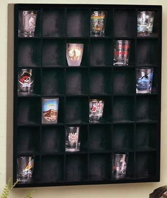 high quality Jumbl outlet sale 2021 Wood Shot Glass Wall Curio Display case - Black… outlet online sale