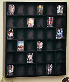 Jumbl Wood Shot Glass Wall Curio Display case - Black…