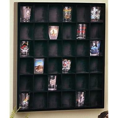 Jumbl Wood Shot Glass Wall Curio Display case - Black