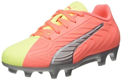 Puma Unisex-Kinder One 20.4 Osg Fg/ag Jr Fußballschuhe, Orange NRGY Peach Fizzy Yellow Aged Silver, 35.5 EU