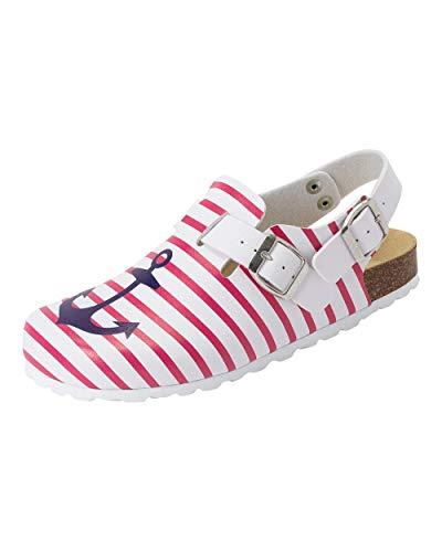 CLINIC DRESS Clog - Clogs Damen bunt weiß. Schuhe für Krankenschwestern, Ärzte oder Pflegekräfte weiß/pink/Marine, Geringelt, Anker 37
