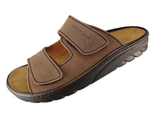 Algemare Herren Pantolette Leder Algen-Kork Wechselfußbett waschbar Nubuk 7260_3261 Sandale Fußbett, Größe:41 EU