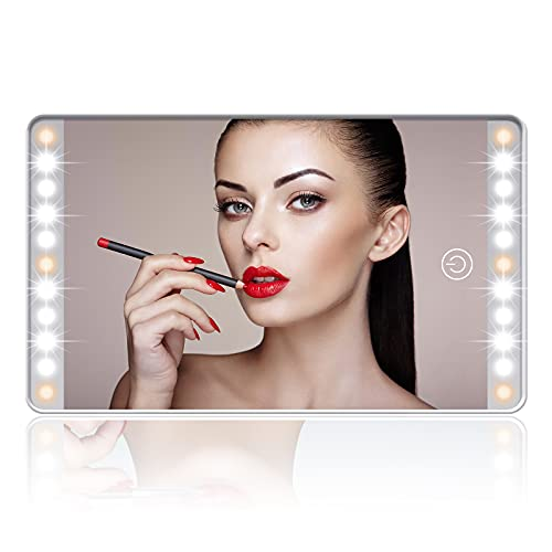 Car Sun Visor Vanity Mirror, Rechargeable Makeup Mirror with 3 Light Modes & 22LEDs - Dimmable Clip-on Rear View Sun-Shading Cosmetic Mirror with Touch on Screen, Universal for Car Truck SUV (White)