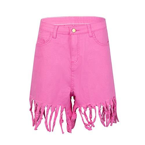 Corumly Pantalones Cortos de Mezclilla para Mujer Pantalones Cortos de Mezclilla con Flecos con Personalidad Europea y Americana Pantalones de Pierna Recta Casuales de Moda Sexy 3XL