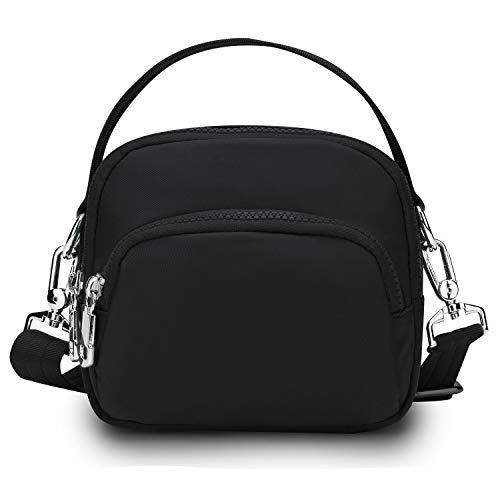 Wind Took Damen Umhängetasche Klein Mini Bag Sling Tasche Handtasche Handy Schultertasche für Reisen Sports Shopping, 16.5x14.5x8.5 Schwarz