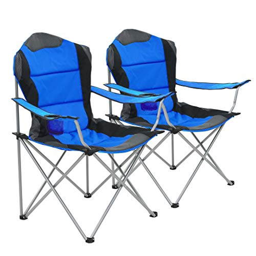 Festnight- Klappbare Campingstühle 2 Stück   Klappbar Strandstühle   Klappstühle   Angelstuhl   Anglerstuhl   Faltstuhl   Grau/Grün/Blau PVC mit Stahlrahmen   96 x 60 x 102 cm
