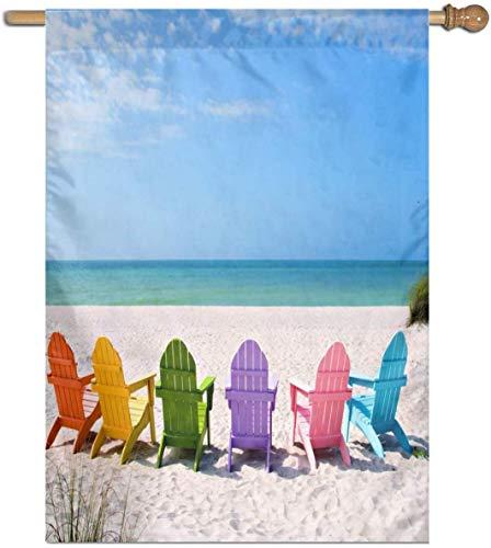 Jacklee Adirondack Strandstoelen Op Een Zon Strand Tuinvlaggen Duurzame Verticale Huis Vlag Fade Resistant Outdoor Banner Kwaliteit Yard Decoratieve Vlaggen voor College Weekend Sports- 27