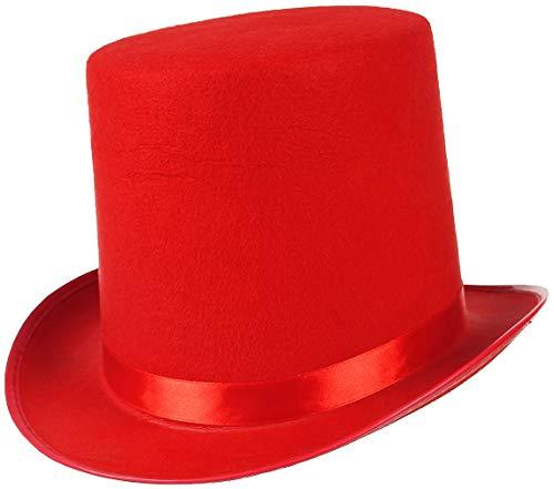 EOZY Zylinder Hut Herren Damen Hoher Hut Erwachsenenhut mit Satinband Top Hat Partyhut für Zauberer Karneval Fasching (Kappenhöhe 16cm, Rot)