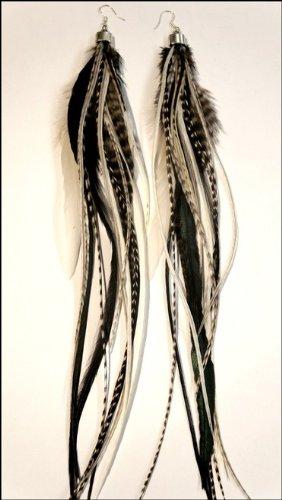grizzly-extensions extravagante Boucles d'oreilles noir et blanc