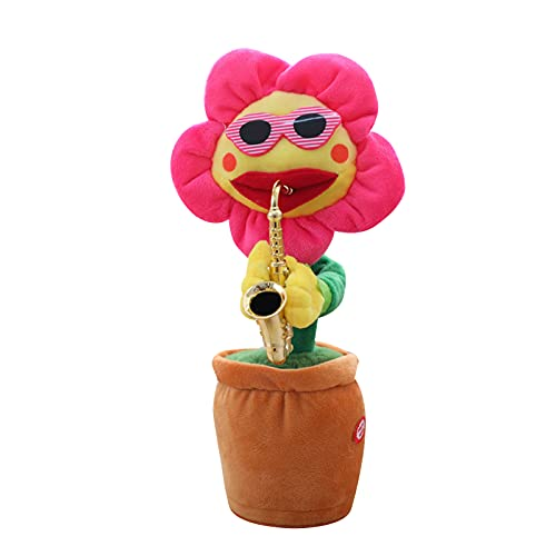 Gaoguan Dancing Sunflower with Sax 32cm Electronic Singing Toy 60 Songs Swinging Plant Pot Wiggling Plush Ornament Gift for Kids