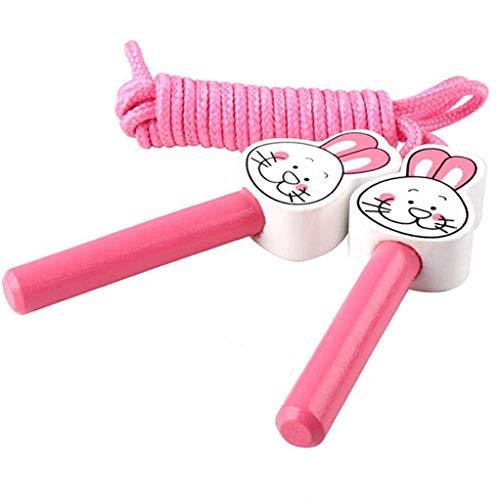 SEVENHOPE Kinder Cartoon Tier Holz Sport Springseil Kinder Fitnessgeräte Training Praxis Werkzeug (Hase)