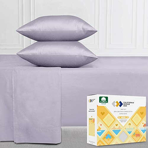 400-Thread-Count 100% Pure Cotton Sheets - 4-Piece Lavender Grey Queen Size Sheet Set, Long-Staple Combed Cotton Bed Sheets for Bed, Fits Mattress 16'' Deep Pocket, Soft Sateen Weave