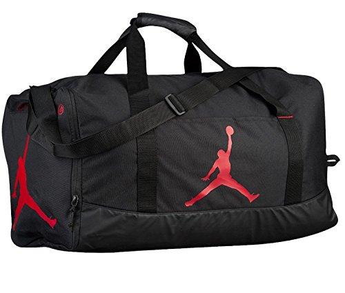 Nike Air Jordan Jumpman Duffel Sports Gym Bag Black/Red 8A1913 Wet/Dry Pocket Water Resistant