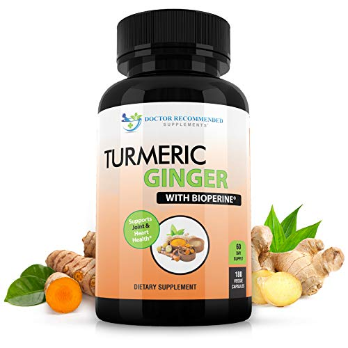 Turmeric Curcumin with Ginger, 95% Curcuminoids with BioPerine - 180 Veggie Capsules - Made in USA Natural Immune Support Supplement, Joint Relief and Inflammatory Response