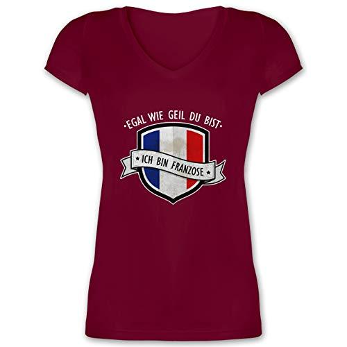 Länder - Egal wie geil du bist - ich Bin Franzose - S - Bordeauxrot - T-Shirt - XO1525 - Damen T-Shirt mit V-Ausschnitt
