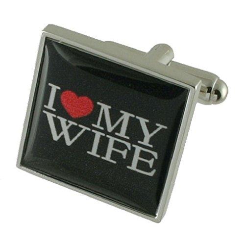 I Love My Wife Design lourde solide Argent sterling 925 Boutons de manchette + cadeau personnalisé Message Boîte à boutons de manchette