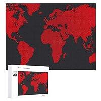 INOV 世界地図 ジグソーパズル 木製パズル 500ピース キッズ 学習 認知 玩具 大人 ブレインティー 知育 puzzle (38 x 52 cm)