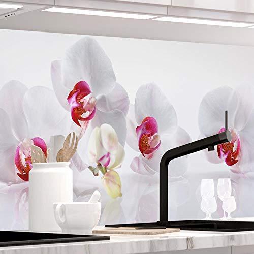 StickerProfis Küchenrückwand selbstklebend - ORCHIDEEN Ensemble - 1.5mm, Versteift, alle Untergründe, Hart PET Material, Premium 60 x 220cm