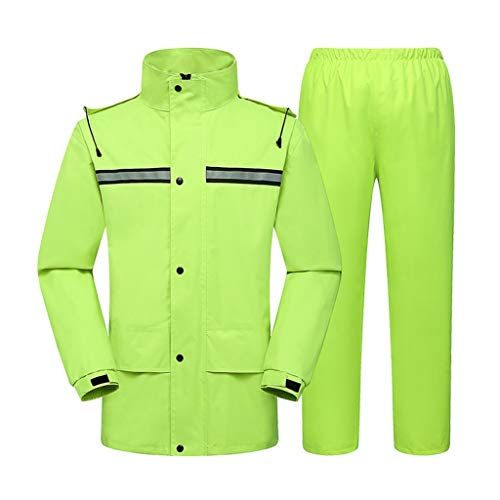 ZHANGGUOHUA Uomo Impermeabile Giacca Antipioggia Pantaloni delle Donne Poncho Rainstorm Sezione Lunga Whole Body Esterna ispessite Adulti Moda Impermeabile (Color : Green, Size : XXL)