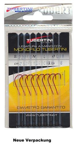TubertiniHaken S.22 rot gebunden Gr.06/0,18 mm Fluocarbon