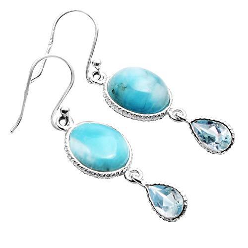 Silver Palace Pendientes colgantes de plata de ley 925 de larimar natural y topacio azul, hechos a mano para mujeres y niñas