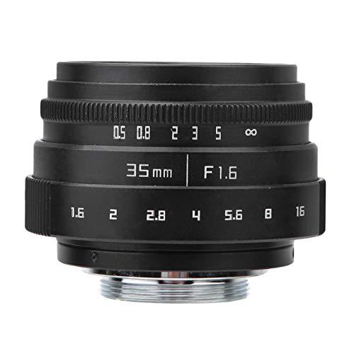 Wosune Lente de Montaje en C, Lente de cámara sin Espejo len de 35 mm, CCTV para entusiastas de los fotógrafos(C-Mount Lens)