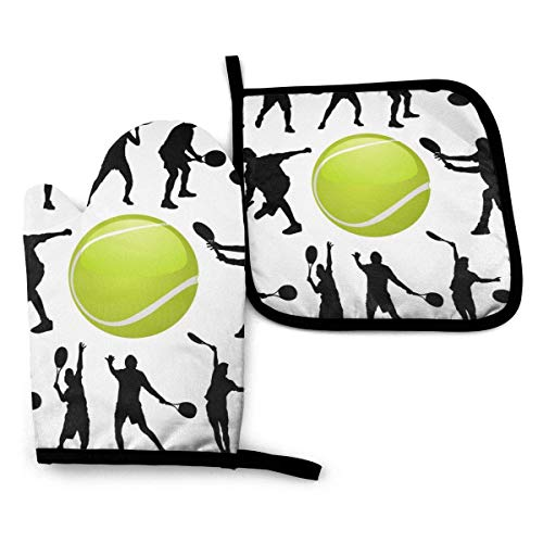 Divertido juego de guantes y porta ollas resistentes al calor para jugadores de tenis para cocina, forro de algodón suave con superficie antideslizante para una barbacoa segura, hornear, asar a la par