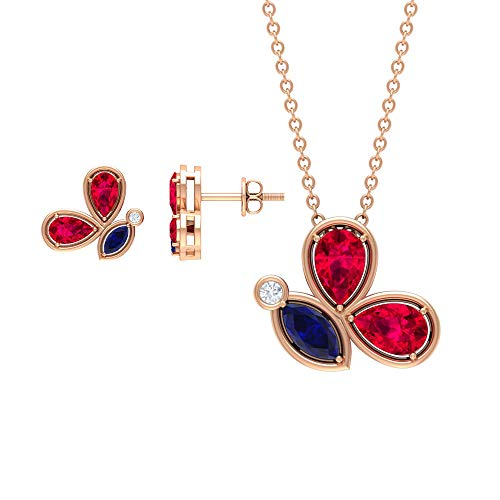 2.93 CT Gold Locket Earrings Sets, Gemstone Butterfly Necklace for Women, Pear Cut Ruby Necklace, Marquise Blue Sapphire Pendants, Women Stud Earrings,18K Rose Gold Without Chain