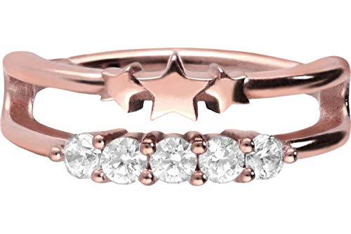 PIERCINGLINE Chirurgenstahl Segmentring Clicker   Doppelring + Sterne + Kristalle   Piercing Ring Ohr Helix   Farb & Größenauswahl